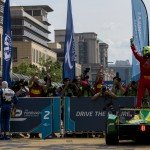 Lucas di Grassi celebrates taking his first win of the season and the lead of the championship