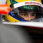 Bruno Senna prepares for the day's work in his Mahindra machine