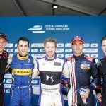 The top five in qualifying, with Sam Bird taking a maiden Formula E pole position