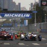 Antonio Felix da Costa leads a group of cars around the Beijing circuit