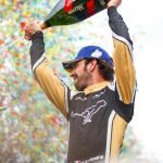 Jean-Eric Vergne celebrating his victory in Paris, France.